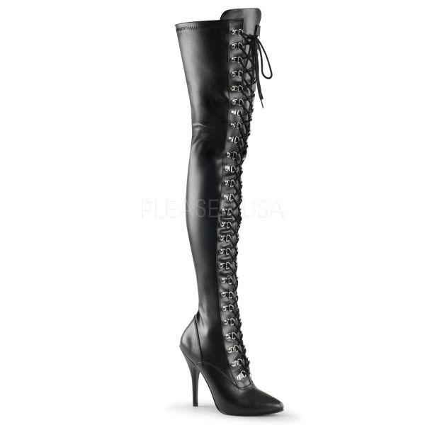 Overknee Stiefel SEDUCE-3024 PU schwarz mit Schnürung